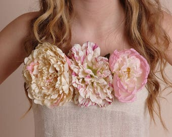 Floral Clip On - flower accessories, wedding, dress up - item 213