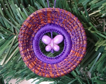 Butterfly Ornament Purple Butterfly Pine Needle Ornament Purple Resin Pine Needle Ornament Native American Pine Needle Coiled Ornament