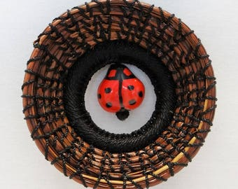 Lady Bug Ornament Black Lady Bug Ornament Black Lady Bug Pine Needle Ornament Native American PIne Needle Coiled Ornament Lady Bug Ornament