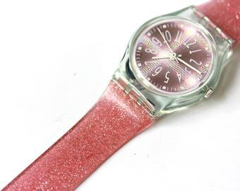 Vintage pink glitter women's Swatch watch, never worn, new in original package