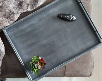 XL Rustic Serving Tray || Black Metal Handles, Large Wood Serving Tray, XL Ottoman Tray, Coffee Table Tray, Large Tray, Wooden Tray,