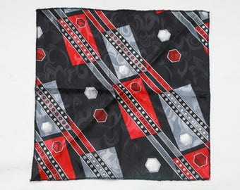 "80's Vintage ""HUNTER"" Fancy Abstract Patterned Pocket Square"