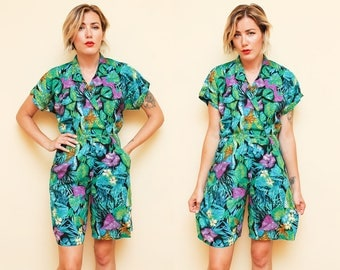 Tropical Romper // Green Floral Jumper // 80s Short Sleeve Jumpsuit Funky Vacation Collared Side Pocket Shorts Rayon Size 5 6 Small