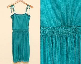 Green Tank Dress // Tie Shoulder Sheer Dress // 1970s Vicky Vaughn Sleeveless Sheer Pleated Ruffle Elastic Boho Mini Dress Size Small