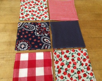 Red, White and Blue Reversible Fabric Cloth Coasters, Mug Rug, Set of 6, by CHOW with ME