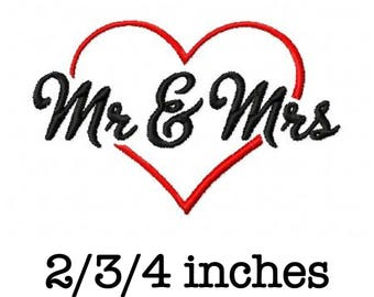Mr and Mrs heart wedding 2/3/4 inch machine embroidery design instant download