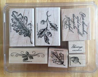 Stampin' Up Leave Nature Foliage Word Acorn Stamps 7 stamps in a box Craft Supply