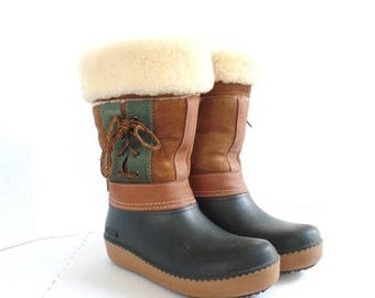 ON SALE Vintage Winter Snow Boots Suede Shearling Lined Winter Rain Boot,Cuffed Calf, Baffin, Made in Canada, Size 7