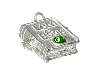 Sterling Silver Opening Large Enamelled Bookworm Charm For Bracelets