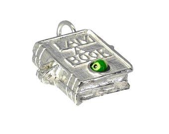 Sterling Silver Opening Large Enamelled Bookworm Charm For Bracelets