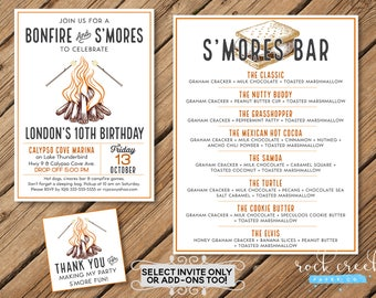 Bonfire Birthday Invitation, Bonfire & S'mores Party, Bonfire Tags, S'mores Tags, S'mores Bar Menu, S'mores, Birthday Party Printables