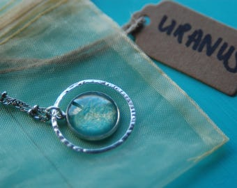 OOAK Planetary Necklace series Astronomy Hand painted Planet URANUS Geeky Science