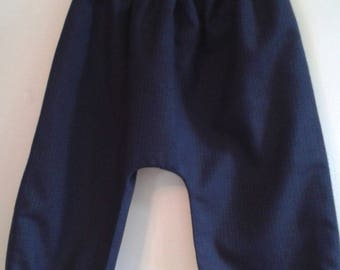 reversible wool black harem pants / magical 12/24 months patterned fabric