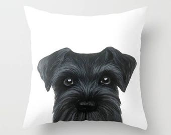 Pillow cover with insert. New Original painting print design on both side. black schnauzer, home decor ornament and decoration housewares