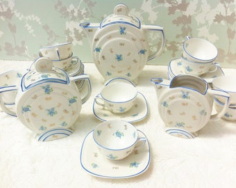 Blue Art Deco Coffee Set for 12