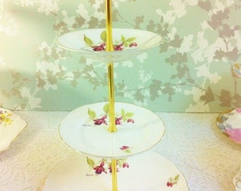 """Old Royal 3 Tier Cake Stand """"Fuschia """""""