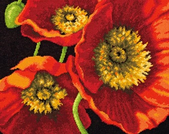 Red Poppy Trio Needlepoint Kit