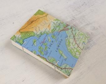 A6 sketchbook*writing journal*travel journal*art journal*notebook*small journal*hard cover journal*A6*blank pages*vintage Loch Lomond map