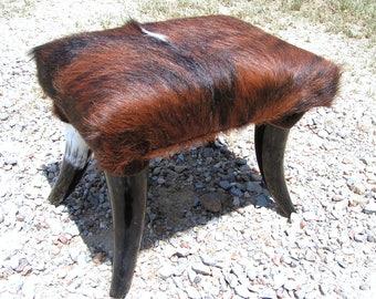 Cowhide Footstool with Horn Legs Western Decor Longhorn Steer Stool 0238