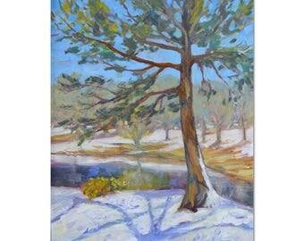 New England winter oil painting, Snow landscape, pine trees, Impressionist art, large landscape, Original oil painting, vertical,  20 X 16