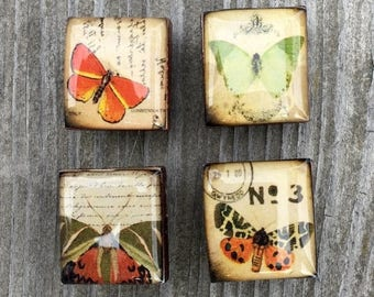 AUGUST SALE Butterfly Scrabble Tile Magnets repurposed