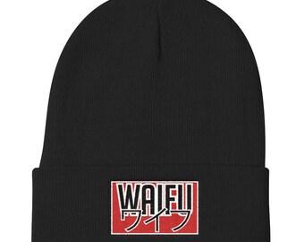 Waifu Knit Beanie - Anime beanie embroidered Waifu, perfect gift idea for that otaku in your life