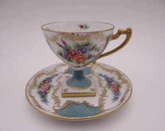 Very Rare Spectacular Vintage EG Limoges France Demitasse Cappuccino Espresso Square Base Pedestal Coffee Teacup and Saucer