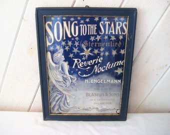 Vintage framed Angel print, vintage sheet music, vintage advertising, celestial picture, Song to the Stars