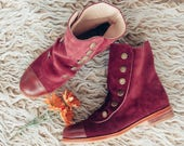 Mamba Bordeaux - Leather woman boots - Handmade in Argentina - Free shipping