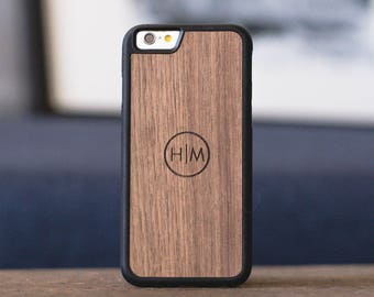 iPhone 7 Case Wood Personalized, Wood iPhone 7 Plus Monogram Wood Case, Wood iPhone 7 Case - MONO-SHK