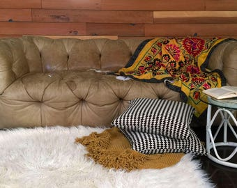 Vintage Distressed Tufted Tan Leather Chesterfield Sofa