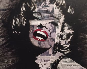 "24""x24"" Marilyn Monroe pop art painting on Birch wood ORIGINAL"