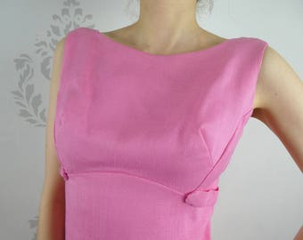 VINTAGE PINK DRESS 1960s Floor Length Sleeveless Bow Size Small