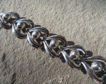 Taxco Silver Bracelet,Taxco Signed Link Bracelet,Mexican Silver Jewelry,Vintage Taxco Silver Jewelry,Pre Eagle Taxco Sterling SilverBracelet