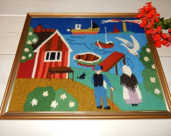 Swedish hand woven wall hanging / flemish /  a boat, a red house , a harbour etc / 1970s