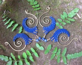 macrame brass earrings, blue spiral earrings