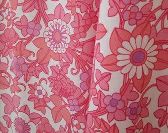 vintage fabric retro fat quarter pink floral vintage bed sheet UK seller