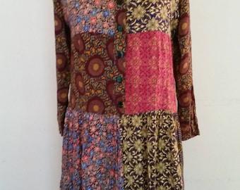 Vintage Hippie Dress 1980's Boho Paisley Patchwork Dress Drop Waist 100% Rayon Inseam Pockets Knee Length Color Block India Design Size S
