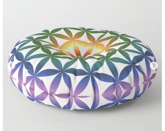 Rainbow Floor Pillow Mandala Floor Pillow Flower of Life Floor Cushion Seed of life Floor Pillow Round Floor Pillow Pouf for Sitting