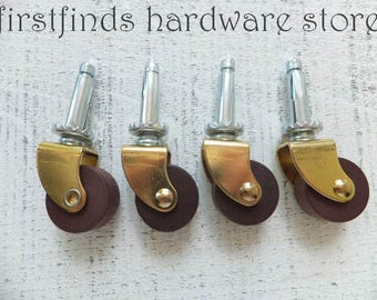 4 Wood & Metal Castor Wheels Furniture Hardware Small Cabinet Swivel Roll Mini Castors Rustic Patina Gold Brown Silver ITEM DETAILS BELOW