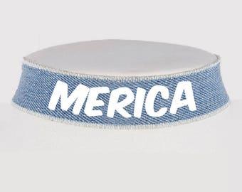 Merica Fourth of July Choker - America Necklace - USA Jewelry Monogrammed Jewelry - Denim Choker - Fourth of July - Choker - Choker Necklace
