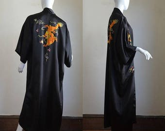 ON SALE 1960s Black Rayon Satin Hand Embroidered Robe Made in China