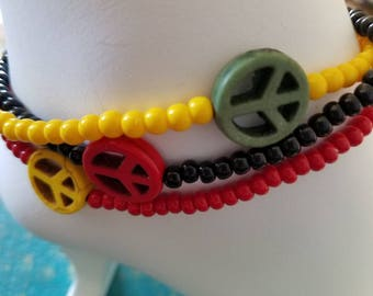 Almost Rasta 3 Tier Stacking Anklets. (SALE)