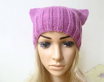 Pink Pussycat Hat - Women Hand Knit Hat - Pussyhat Project - Pink Cat Ear Hat - Hand Knitted Pink Square Beanie Hat - ClickClackKnits