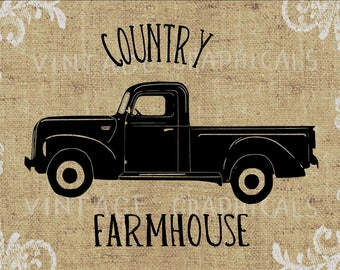 Original drawing Farmhouse truck printable graphic image for iron on fabric transfer burlap pillow totes decoupage scrapbook cards No. 2005