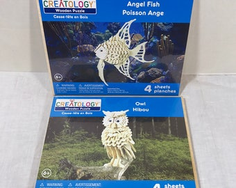 2 Creatology Wooden Puzzles Angel Fish & Owl - New - Michael's Stores Inc