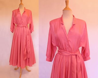 Watermelon Pink Dress - 80s Does 50s