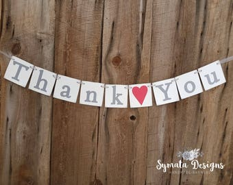 Thank you heart banner - photo prop - wedding decoration- Primary Red heart- grey lettering - lower case letters - romantic - IATY140