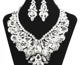 SALE SALE Crystal Necklace Set, Bridal Statement Necklace, Crystal Wedding Necklace, Crystal Evening  Necklace ~ E 135