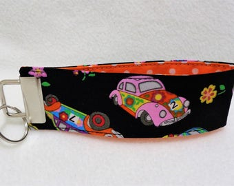 Psychedelic VW Beetle Fabric Wristlet Key Fob - Lanyard Keychain - Teacher Gift - Beetle Gift - Jogger Present - Father's Day